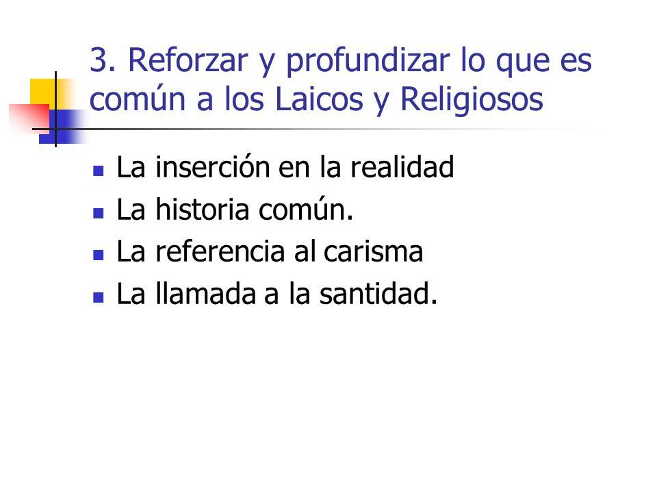 3. Reforzar y profundizar lo que es común a los Laicos y Religiosos