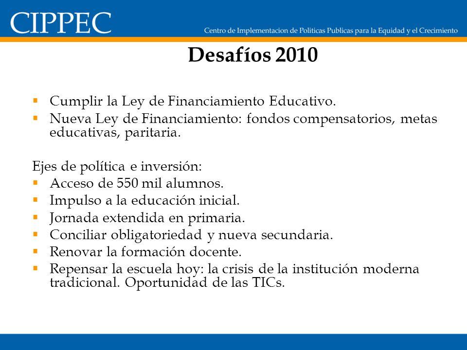 Desafíos 2010 Cumplir la Ley de Financiamiento Educativo.