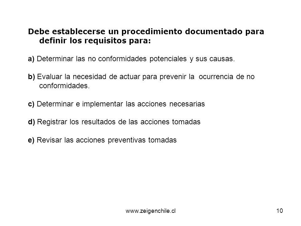a) Determinar las no conformidades potenciales y sus causas.