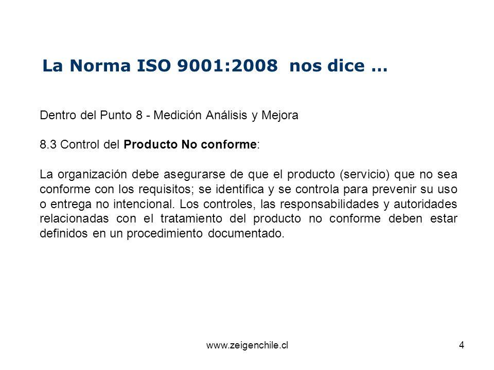 La Norma ISO 9001:2008 nos dice … Dentro del Punto 8 - Medición Análisis y Mejora. 8.3 Control del Producto No conforme: