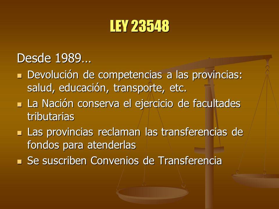 LEY 23548 Desde 1989… Devolución de competencias a las provincias: salud, educación, transporte, etc.
