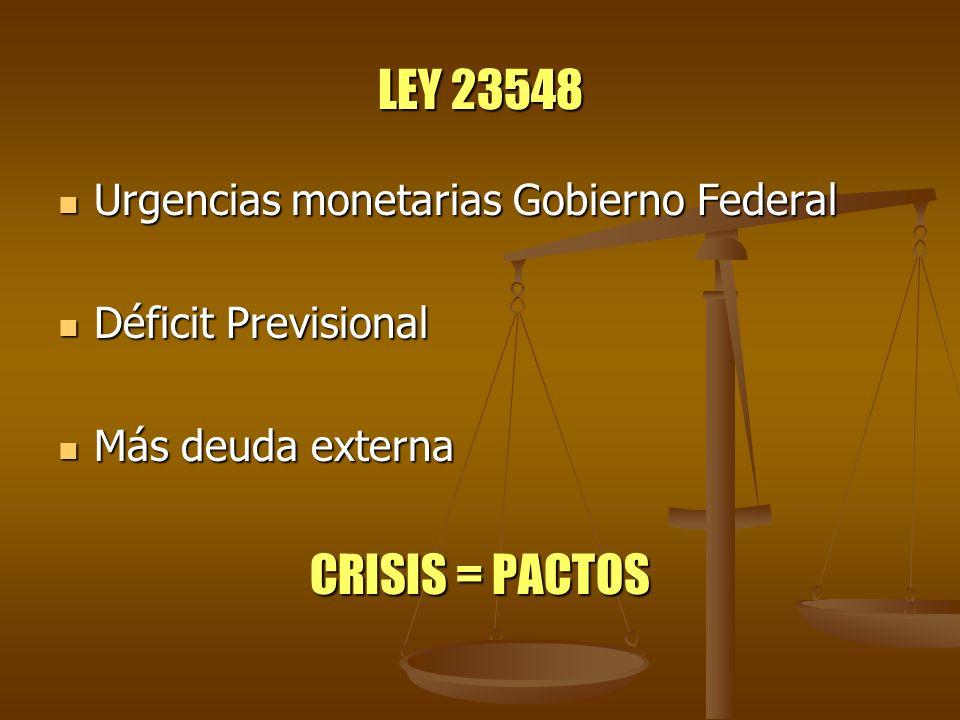 LEY 23548 CRISIS = PACTOS Urgencias monetarias Gobierno Federal