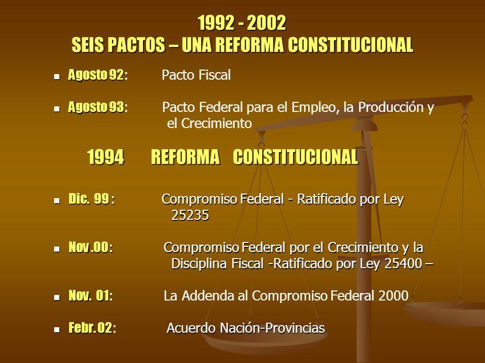 1992 - 2002 SEIS PACTOS – UNA REFORMA CONSTITUCIONAL