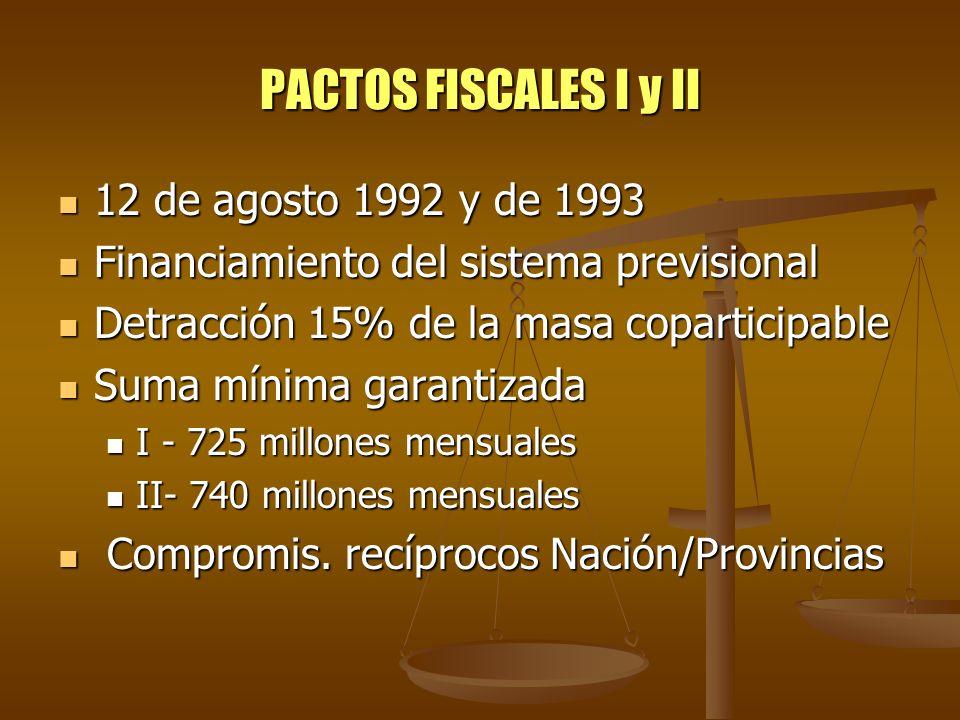 PACTOS FISCALES I y II 12 de agosto 1992 y de 1993