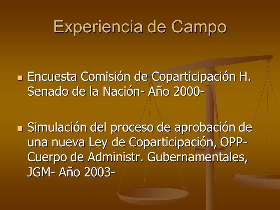 Experiencia de Campo Encuesta Comisión de Coparticipación H. Senado de la Nación- Año 2000-