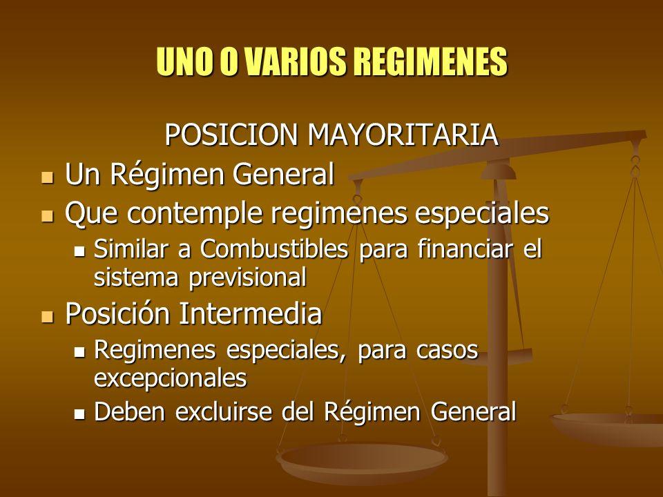UNO O VARIOS REGIMENES POSICION MAYORITARIA Un Régimen General
