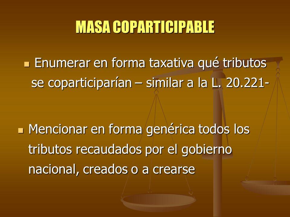 MASA COPARTICIPABLE Enumerar en forma taxativa qué tributos se coparticiparían – similar a la L. 20.221-