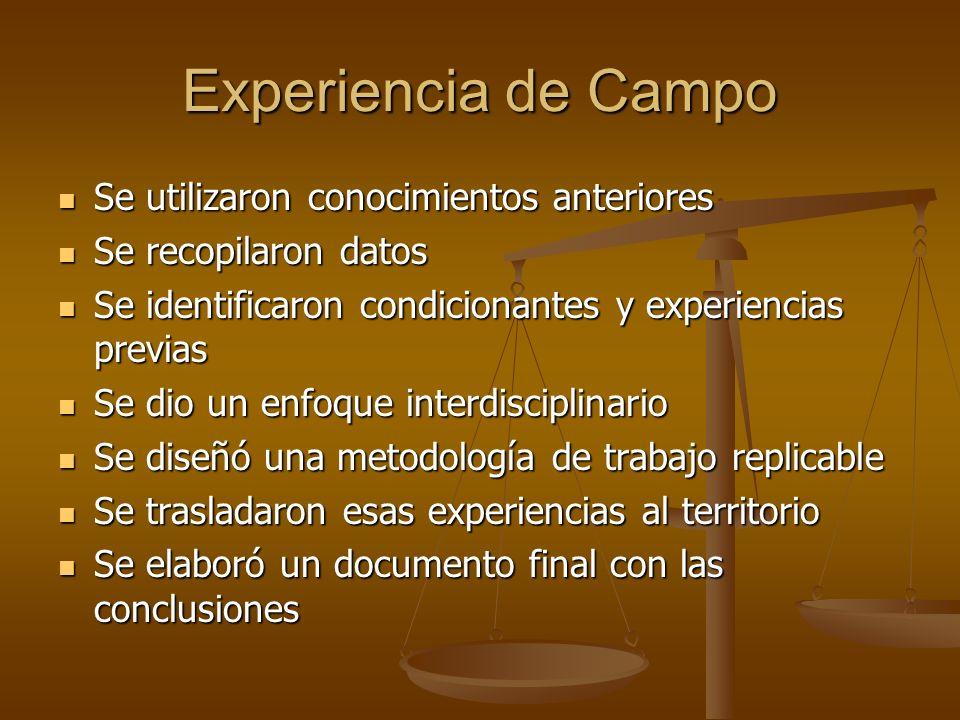Experiencia de Campo Se utilizaron conocimientos anteriores