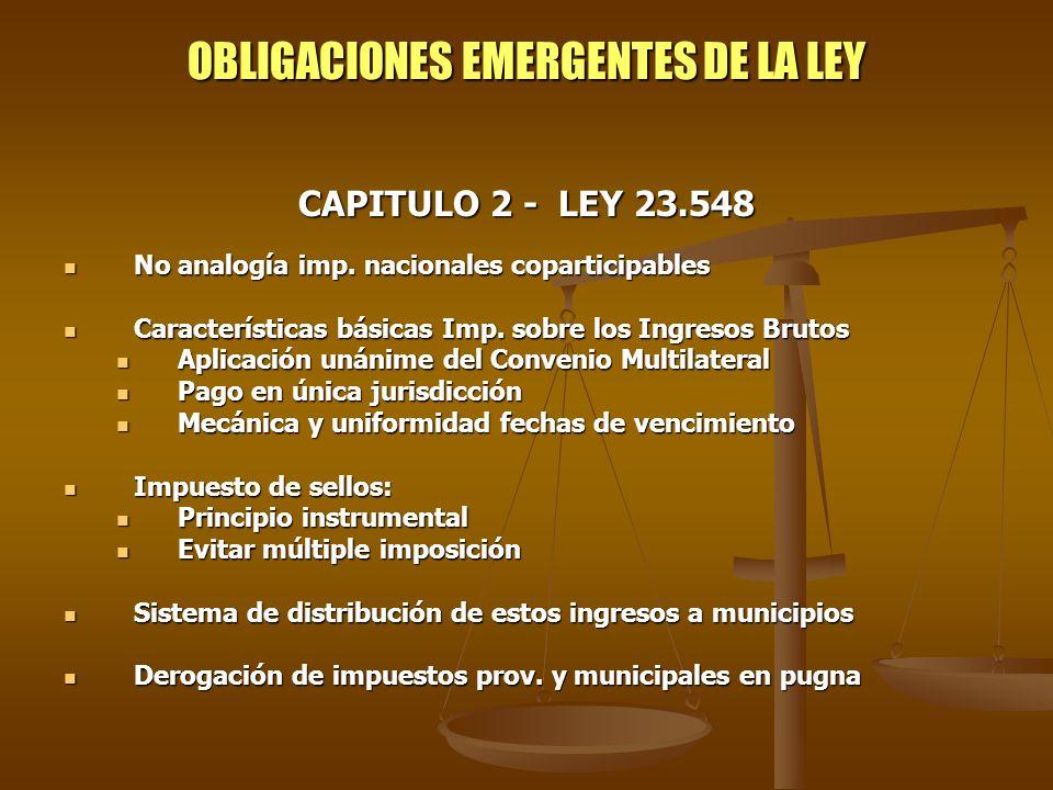 OBLIGACIONES EMERGENTES DE LA LEY
