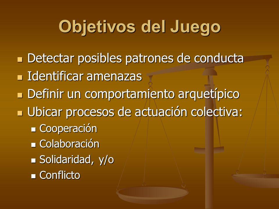 Objetivos del Juego Detectar posibles patrones de conducta