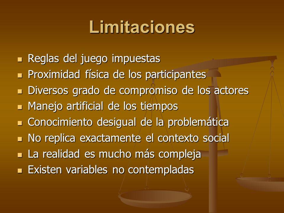 Limitaciones Reglas del juego impuestas