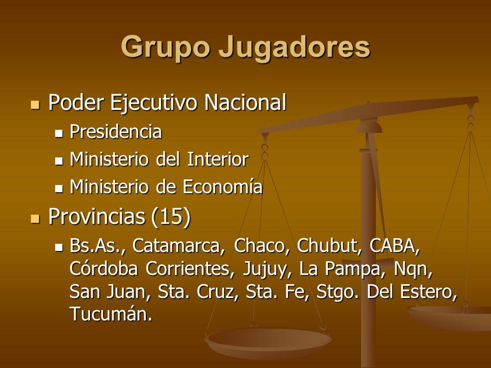 Grupo Jugadores Poder Ejecutivo Nacional Provincias (15) Presidencia
