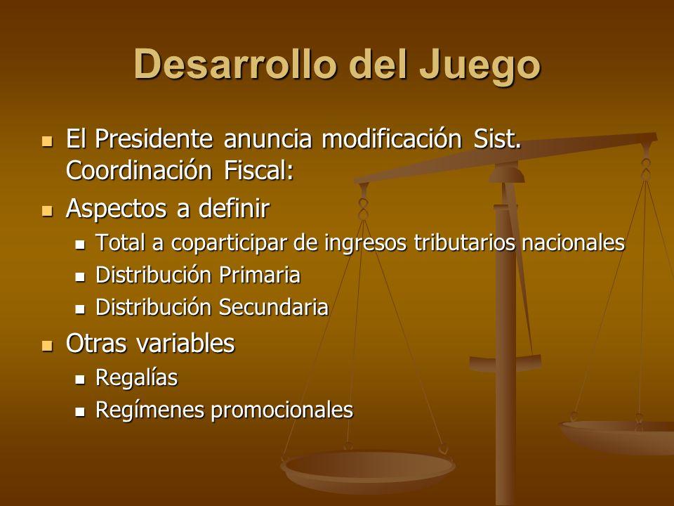 Desarrollo del Juego El Presidente anuncia modificación Sist. Coordinación Fiscal: Aspectos a definir.