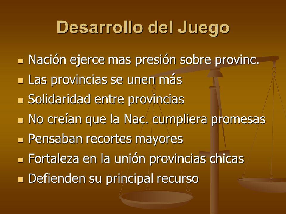 Desarrollo del Juego Nación ejerce mas presión sobre provinc.