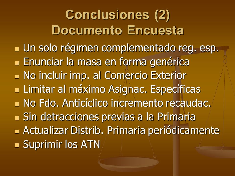 Conclusiones (2) Documento Encuesta