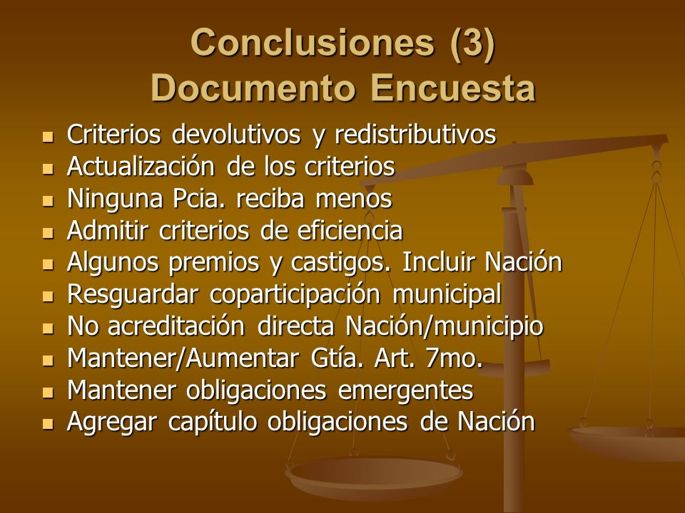 Conclusiones (3) Documento Encuesta