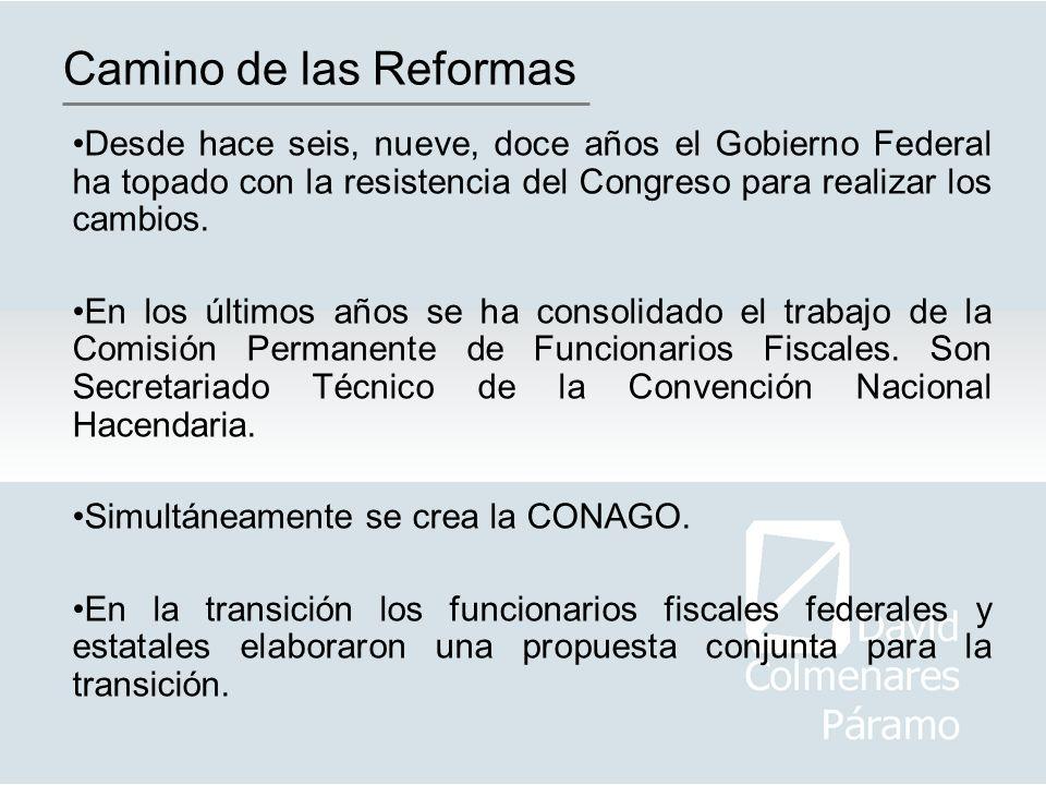 Camino de las Reformas Desde hace seis, nueve, doce años el Gobierno Federal ha topado con la resistencia del Congreso para realizar los cambios.