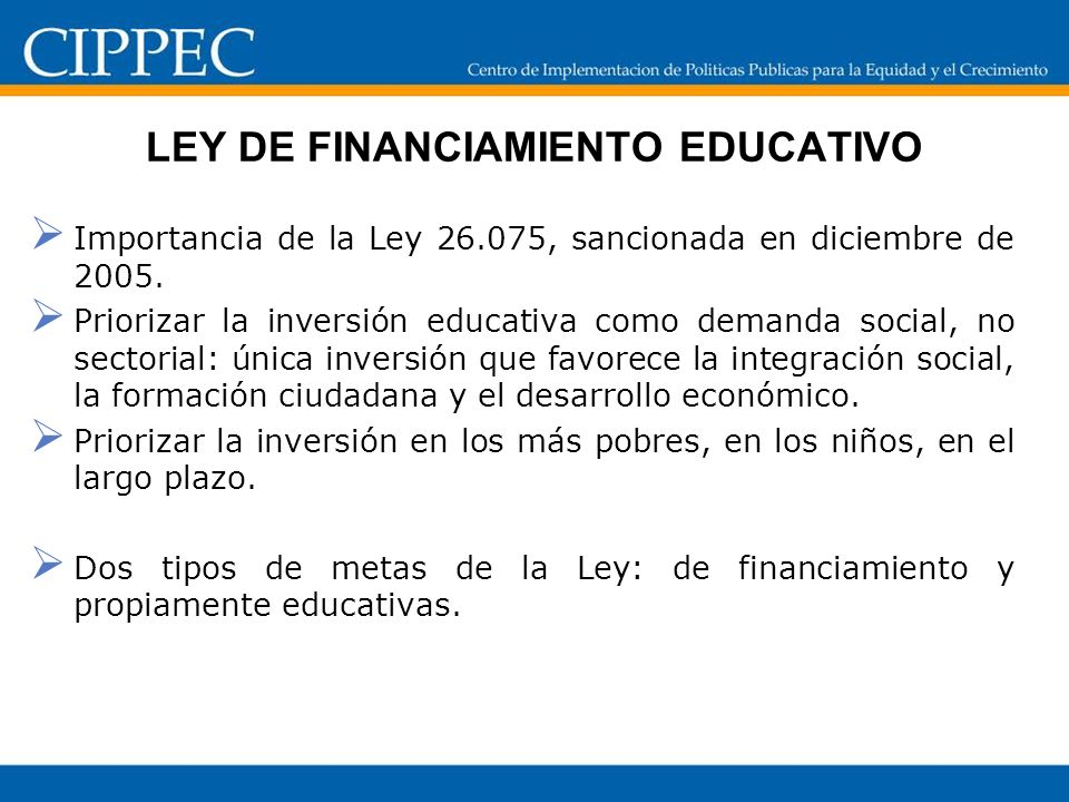 LEY DE FINANCIAMIENTO EDUCATIVO