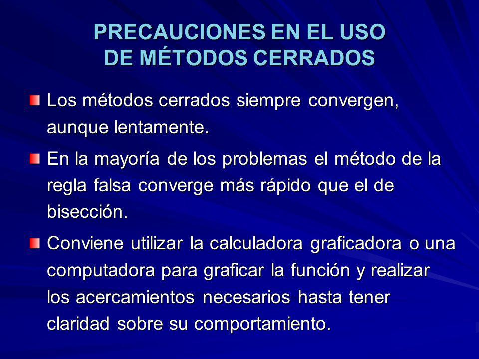 PRECAUCIONES EN EL USO DE MÉTODOS CERRADOS
