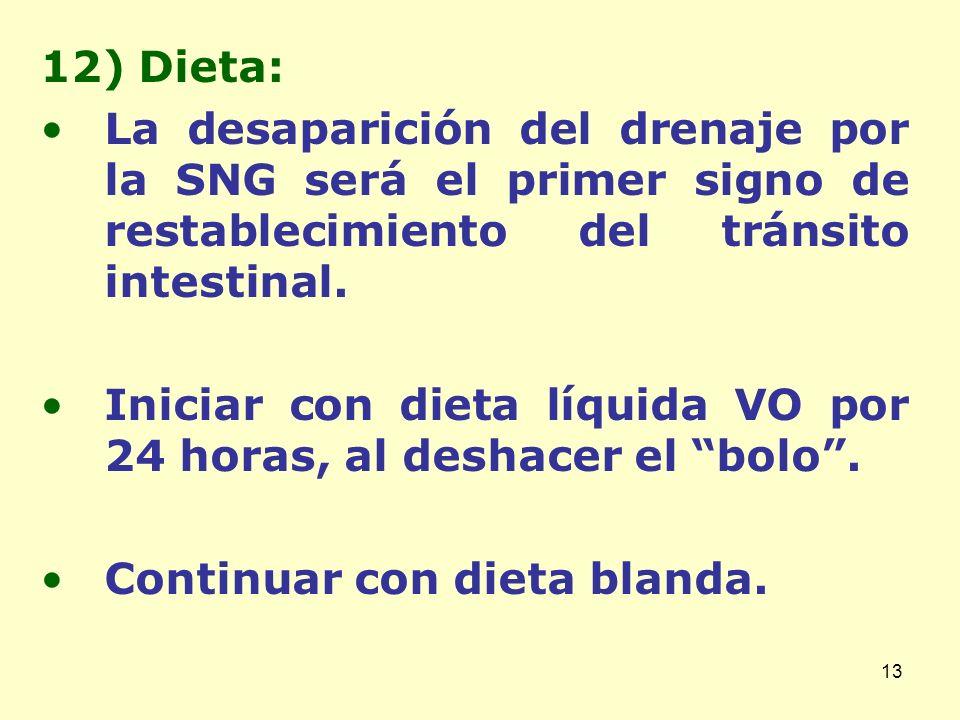12) Dieta: La desaparición del drenaje por la SNG será el primer signo de restablecimiento del tránsito intestinal.