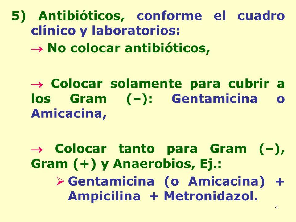 5) Antibióticos, conforme el cuadro clínico y laboratorios: