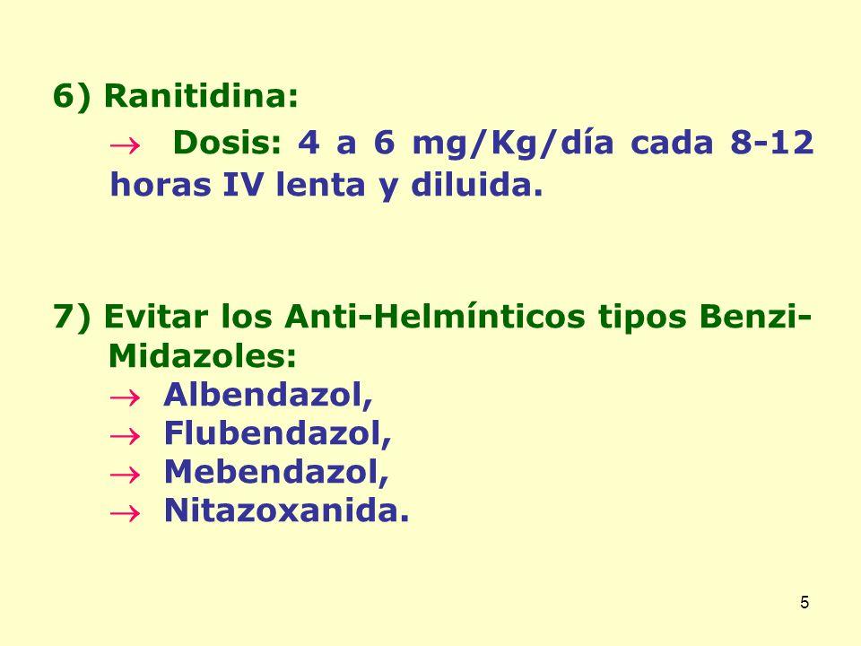 6) Ranitidina:  Dosis: 4 a 6 mg/Kg/día cada 8-12 horas IV lenta y diluida. 7) Evitar los Anti-Helmínticos tipos Benzi-