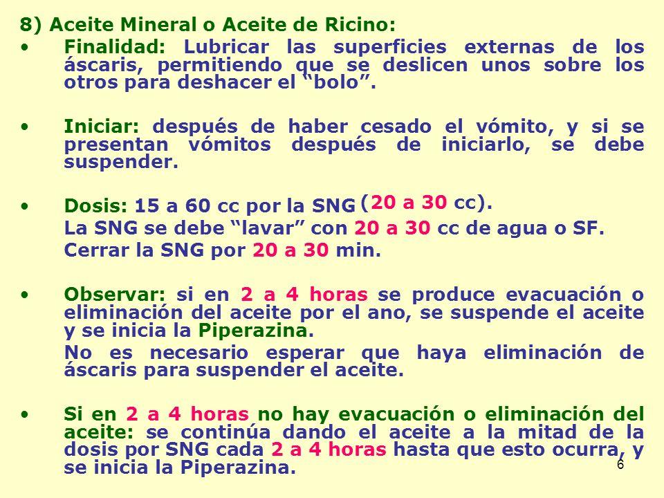 8) Aceite Mineral o Aceite de Ricino: