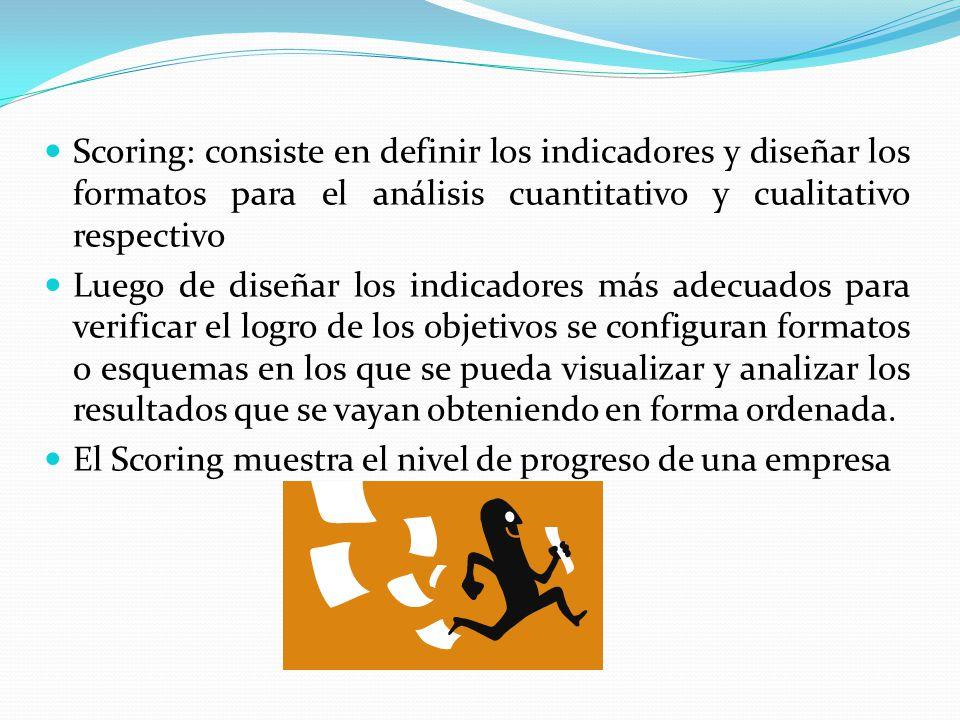 Scoring: consiste en definir los indicadores y diseñar los formatos para el análisis cuantitativo y cualitativo respectivo