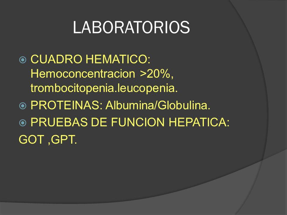 LABORATORIOS CUADRO HEMATICO: Hemoconcentracion >20%, trombocitopenia.leucopenia. PROTEINAS: Albumina/Globulina.