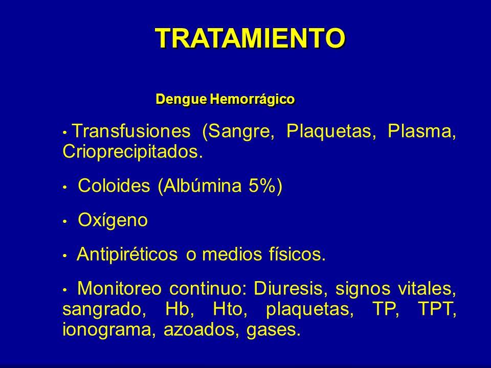 TRATAMIENTO Dengue Hemorrágico. Transfusiones (Sangre, Plaquetas, Plasma, Crioprecipitados. Coloides (Albúmina 5%)