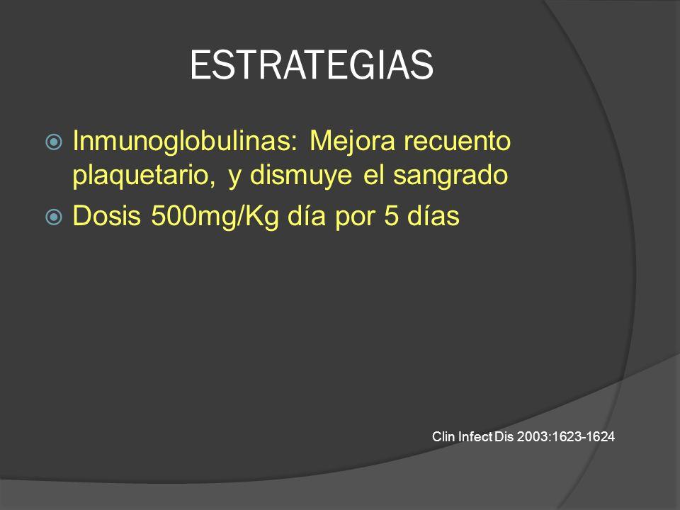 ESTRATEGIAS Inmunoglobulinas: Mejora recuento plaquetario, y dismuye el sangrado. Dosis 500mg/Kg día por 5 días.
