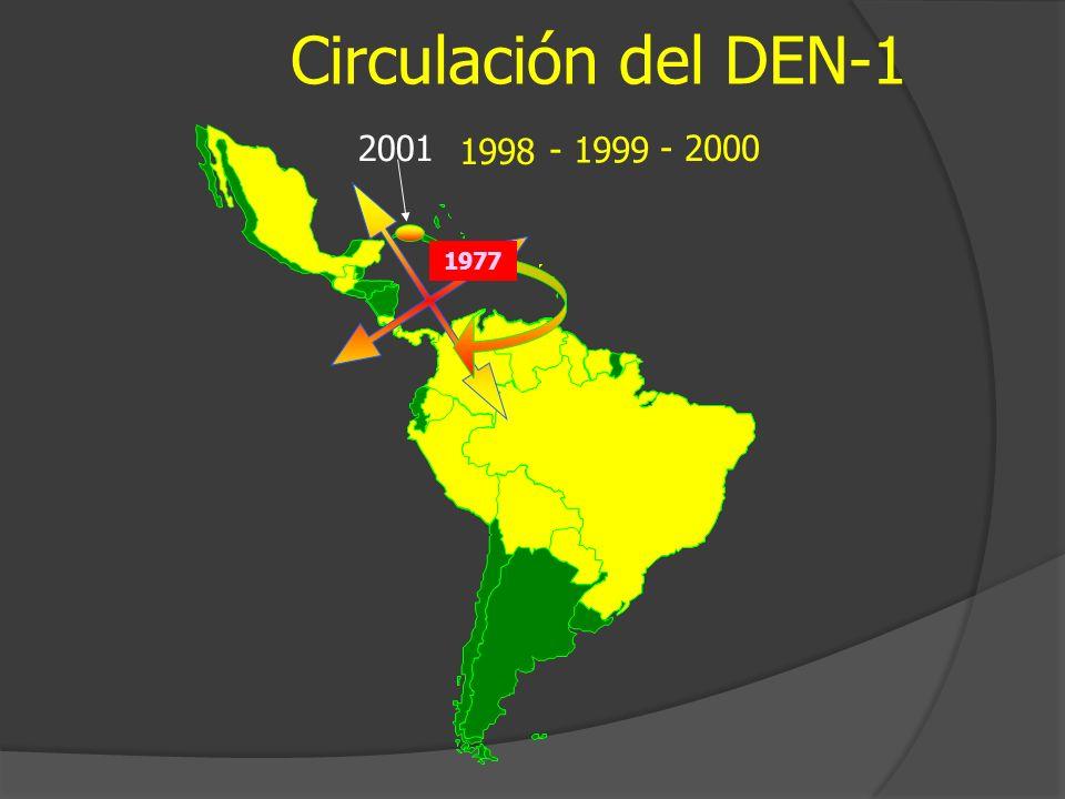 Circulación del DEN-1 - 2000 2001 1998 - 1999 1977