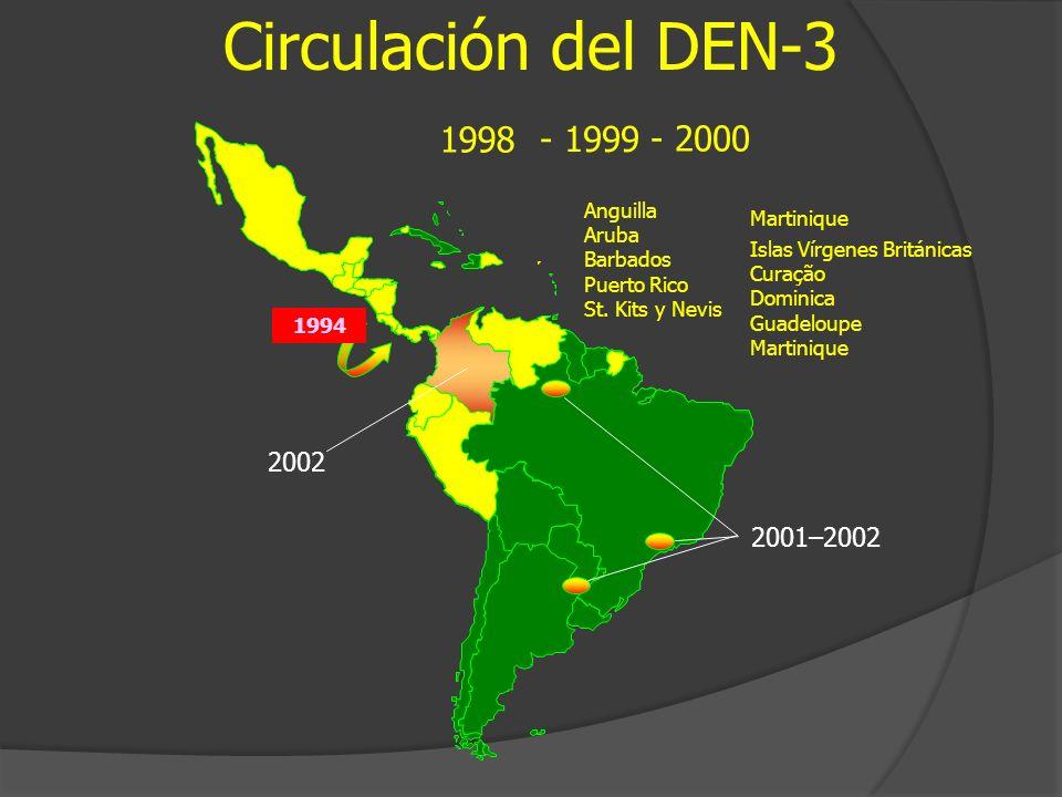 Circulación del DEN-3 1998 - 1999 - 2000 2002 2001–2002 Anguilla