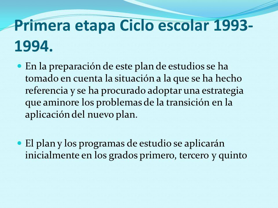 Primera etapa Ciclo escolar 1993-1994.