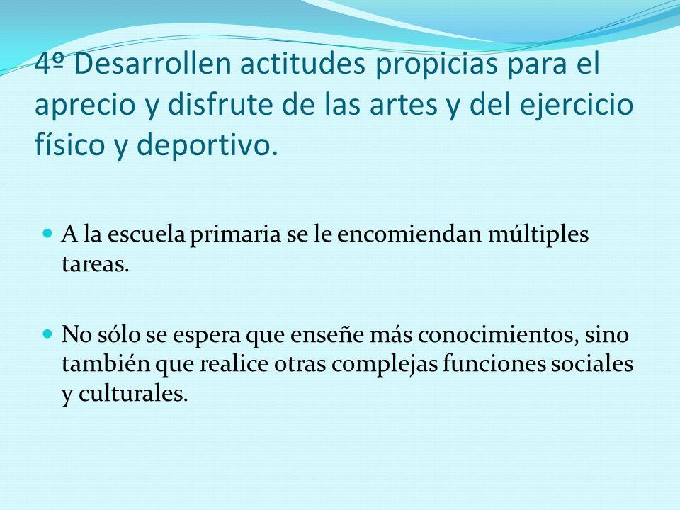4º Desarrollen actitudes propicias para el aprecio y disfrute de las artes y del ejercicio físico y deportivo.