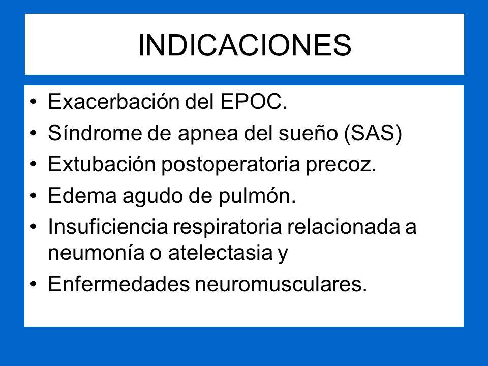 INDICACIONES Exacerbación del EPOC. Síndrome de apnea del sueño (SAS)