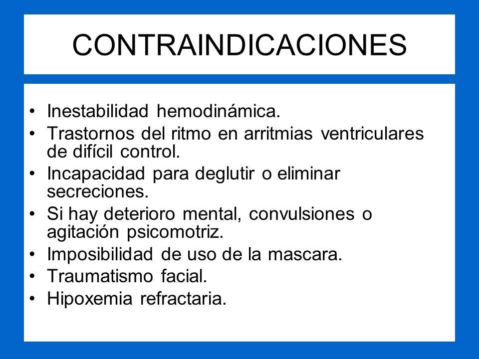 CONTRAINDICACIONES Inestabilidad hemodinámica.