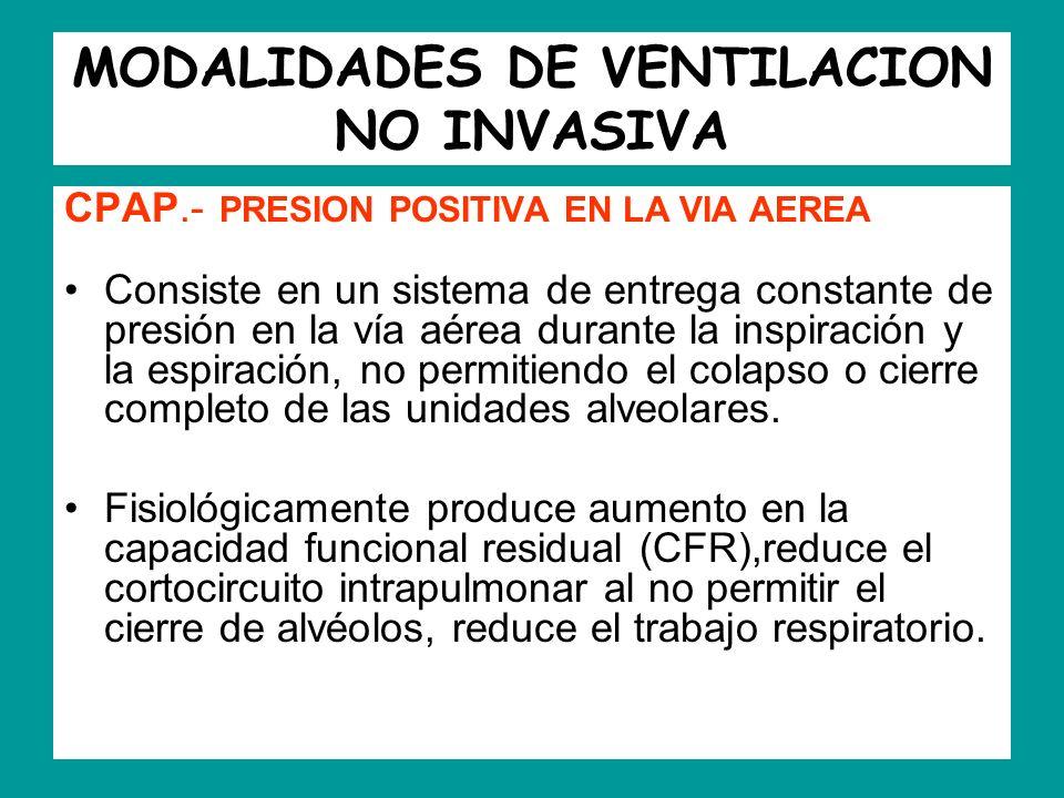 MODALIDADES DE VENTILACION NO INVASIVA