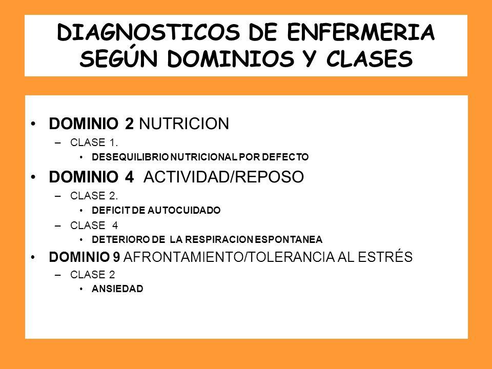 DIAGNOSTICOS DE ENFERMERIA SEGÚN DOMINIOS Y CLASES