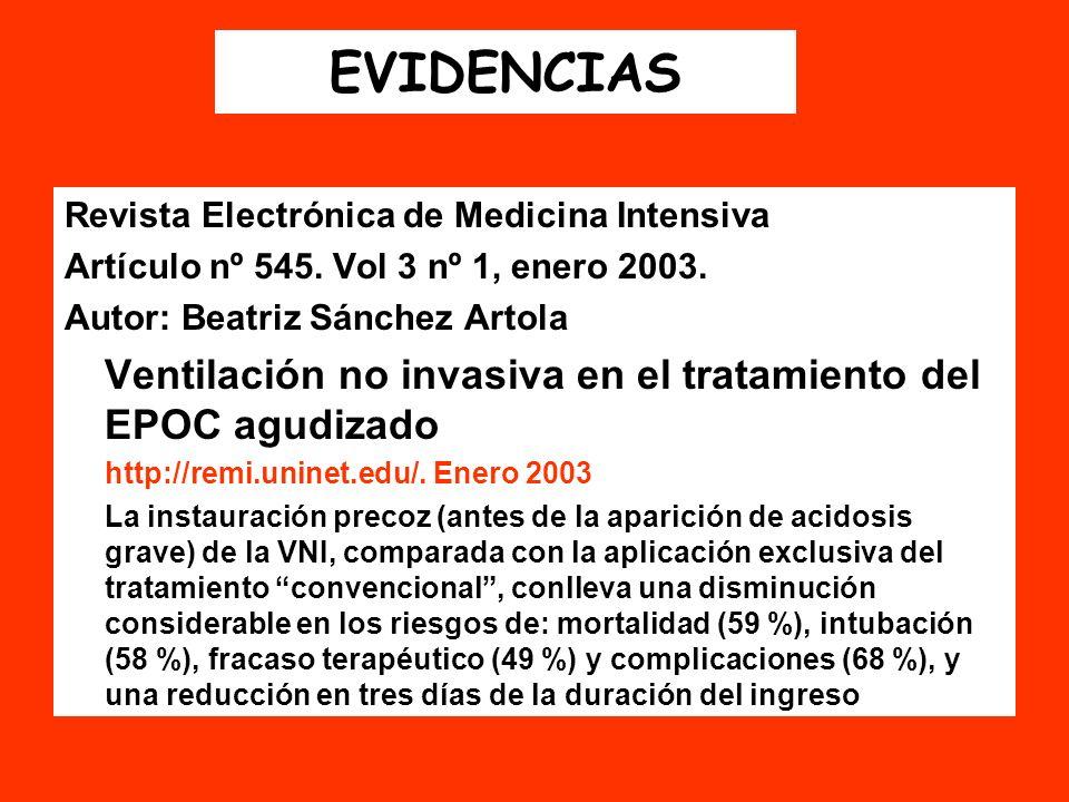 EVIDENCIAS Revista Electrónica de Medicina Intensiva