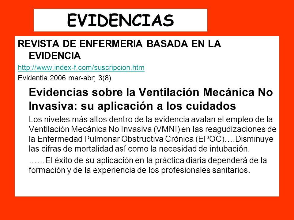 EVIDENCIAS REVISTA DE ENFERMERIA BASADA EN LA EVIDENCIA