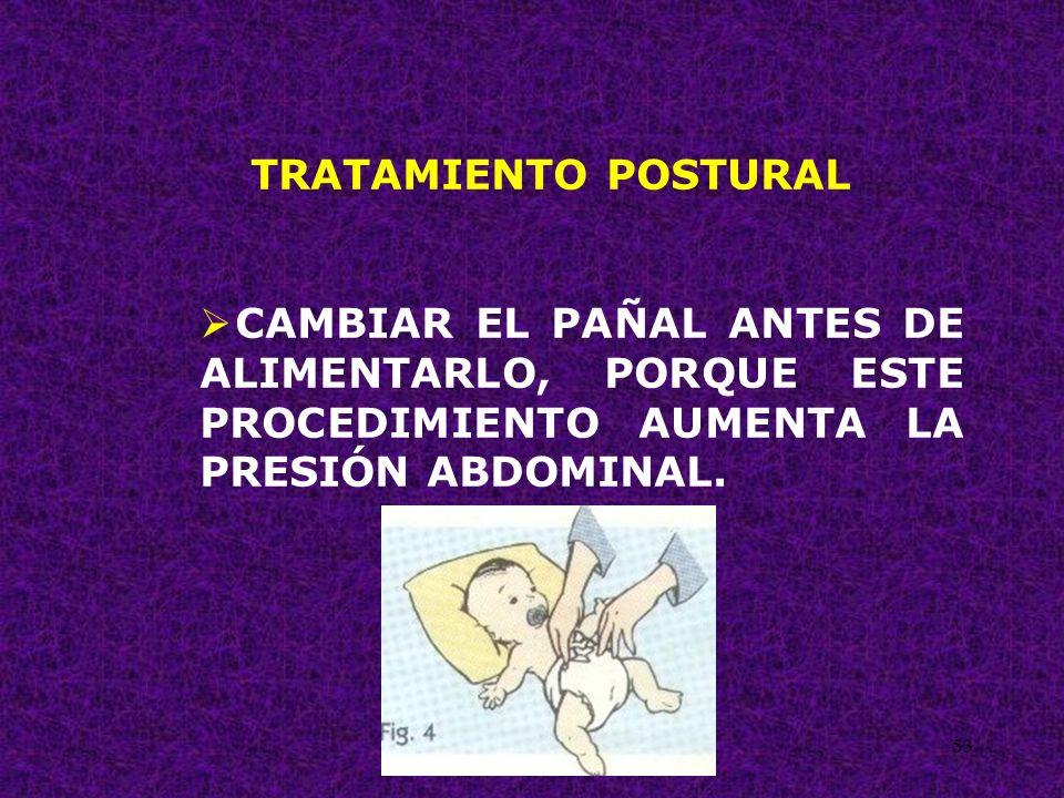 TRATAMIENTO POSTURAL CAMBIAR EL PAÑAL ANTES DE ALIMENTARLO, PORQUE ESTE PROCEDIMIENTO AUMENTA LA PRESIÓN ABDOMINAL.
