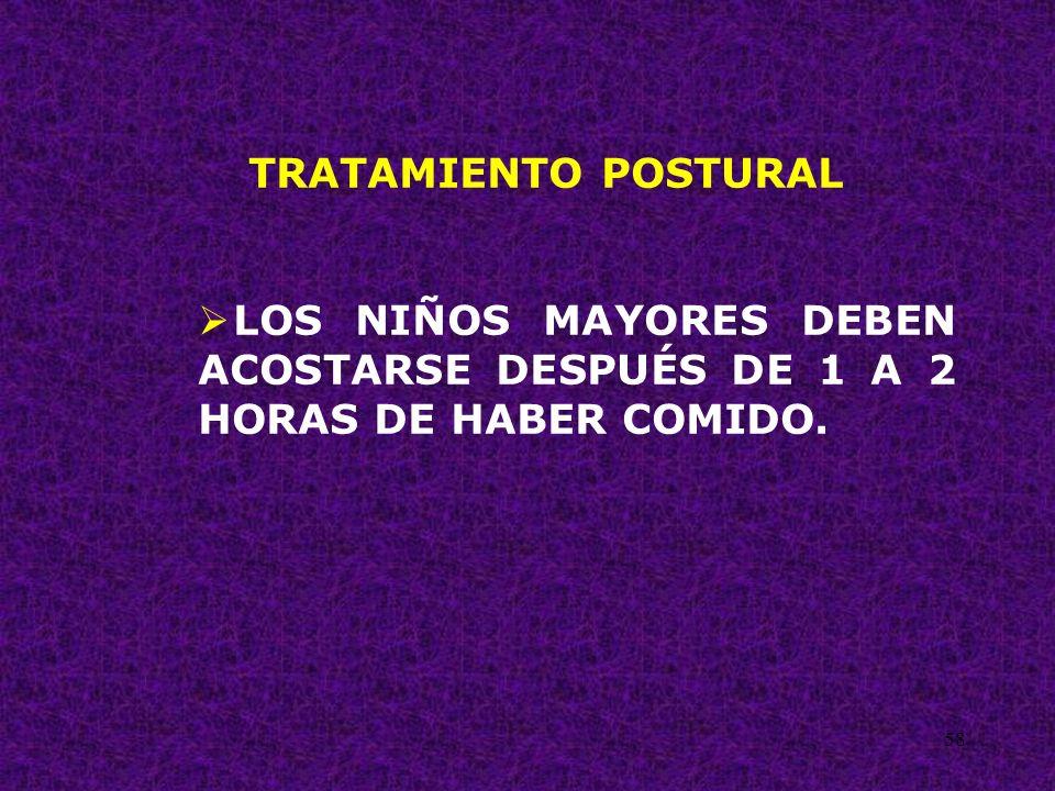 TRATAMIENTO POSTURAL LOS NIÑOS MAYORES DEBEN ACOSTARSE DESPUÉS DE 1 A 2 HORAS DE HABER COMIDO.