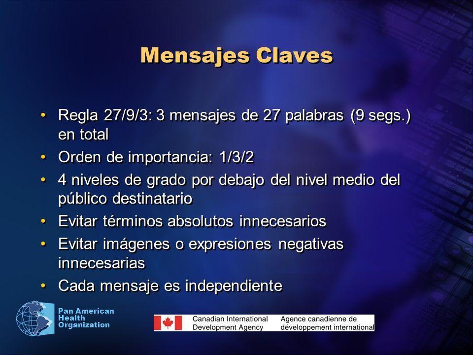 Mensajes Claves Regla 27/9/3: 3 mensajes de 27 palabras (9 segs.) en total. Orden de importancia: 1/3/2.