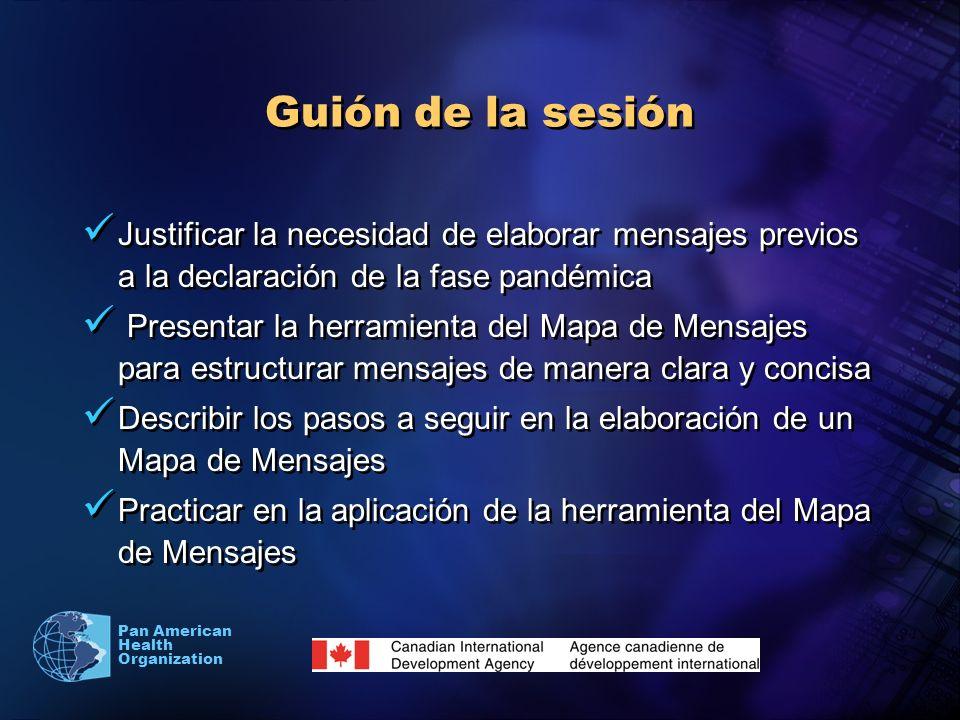 Guión de la sesiónJustificar la necesidad de elaborar mensajes previos a la declaración de la fase pandémica.