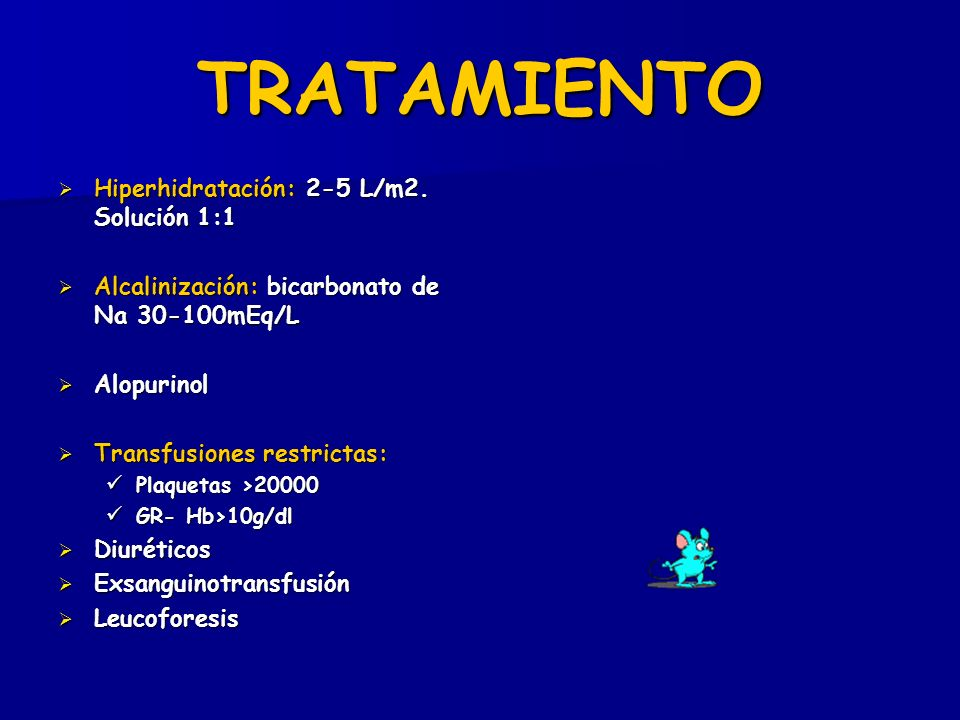 TRATAMIENTO Hiperhidratación: 2-5 L/m2. Solución 1:1