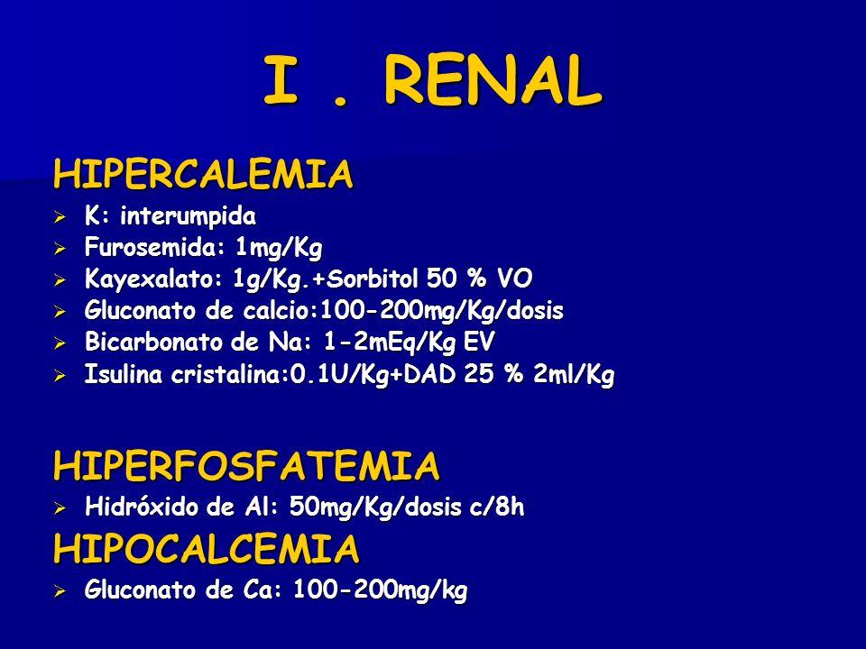 I . RENAL HIPERCALEMIA HIPERFOSFATEMIA HIPOCALCEMIA K: interumpida