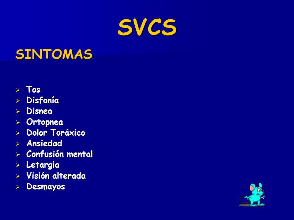 SVCS SINTOMAS Tos Disfonía Disnea Ortopnea Dolor Toráxico Ansiedad
