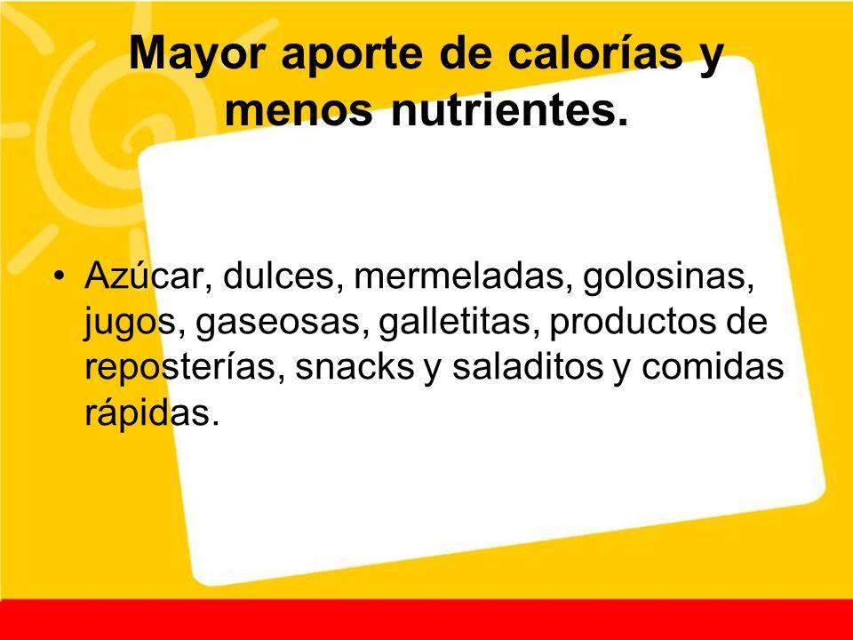 Mayor aporte de calorías y menos nutrientes.