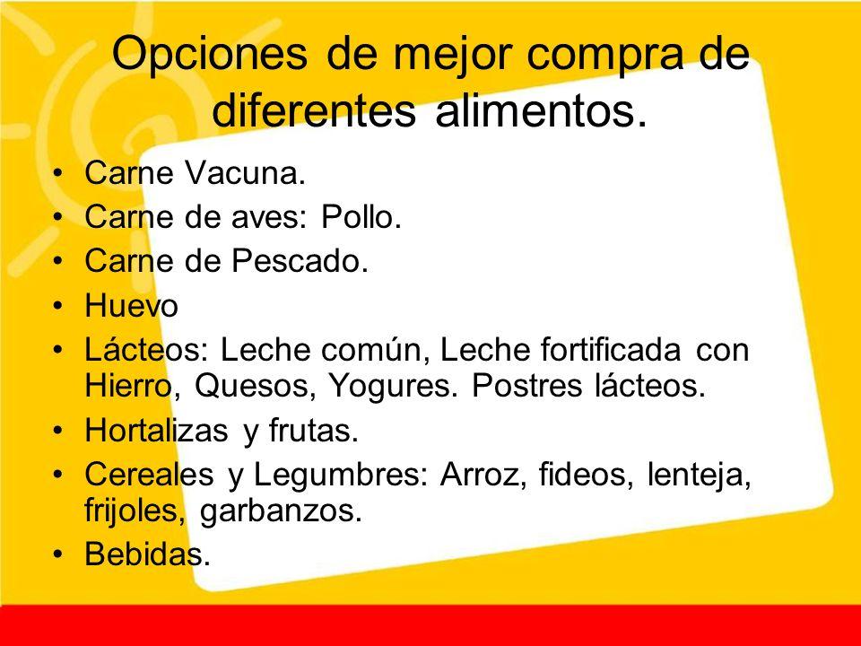 Opciones de mejor compra de diferentes alimentos.
